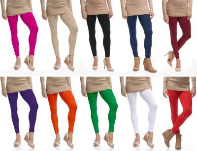 Lili Ankle Length  Legging(Pink, Beige, Black, Blue, Maroon, Purple, Orange, Light Green, White, Red, Solid)
