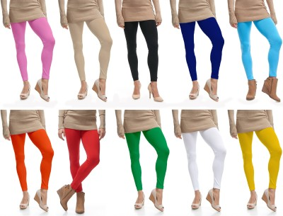 Lili Ankle Length  Legging(Pink, Beige, Black, Blue, Blue, Orange, Red, Light Green, White, Yellow, Solid)