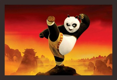 Mad Masters Kung fu Panda 1 Piece wooden framed painting |Wall Art | Home Décor | Painting Art | Unique Design | Attractive Frames Digital Reprint 12 inch x 18 inch Painting