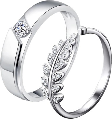 MYKI Queen & King Sterling Silver Plated Zirconia Adjustable (Resizable) Couple Rings Sterling Silver Swarovski Zirconia Sterling Silver Plated Ring Set