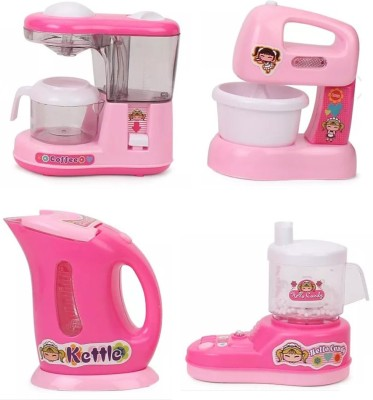 IndusBay Kitchen and household Utility Toy Set For kids Working Household Appliances Set (JMG, Grinder, Kettle, Juicer Mixer) With Light & Sound for Girls