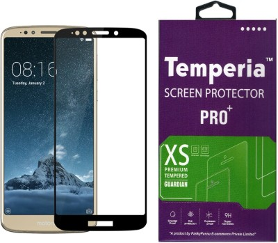 Temperia Tempered Glass Guard for Moto E5 (5.7 inch, Black Colour, Full Glue Edge to Edge Glass)(Pack of 1)