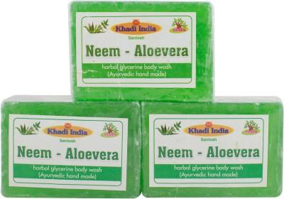 Khadi India Santosh Neem - Aloevera (Ayurvedic Hand Made) (Pack of 3)(3 x 125 g)