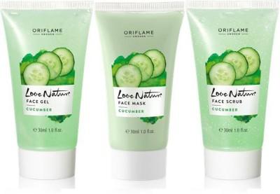 Oriflame Sweden Love Nature Cucumber Set (Face Gel, Face Mask, Face Scrub)(Set of 3)