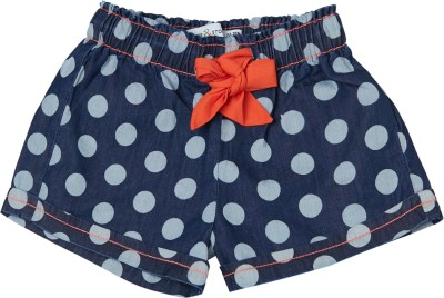 Tales & Stories Short For Girls Casual Polka Print Cotton Blend(Dark Blue, Pack of 1)