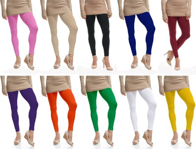 Lili Ankle Length  Legging(Pink, Beige, Black, Blue, Maroon, Purple, Orange, Light Green, White, Yellow, Solid)