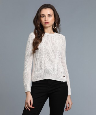 Aeropostale Self Design Round Neck Casual Women White Sweater at flipkart