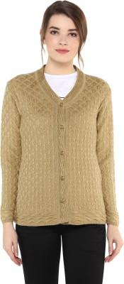 Modeve Self Design V-neck Casual Women Beige Sweater