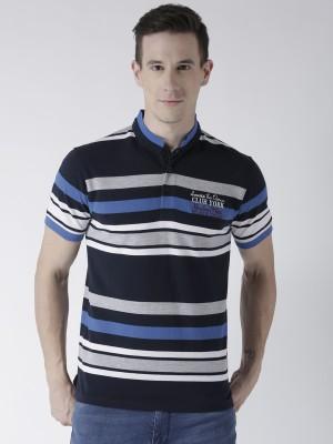 Club York Striped Men Polo Neck Dark Blue T-Shirt