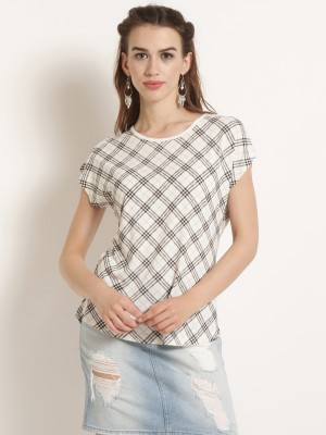 Rare Casual Kimono Sleeve Checkered Women White, Black Top Rare Women's Tops