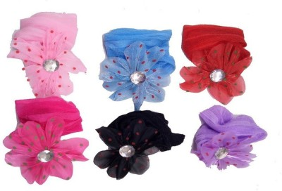 NERR Headband for Baby Girl Ribbon Flower Headband Hair Band Head Band set of 6 (color may vary) Rubber Band (Multicolor) Hair Band(Multicolor)