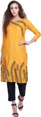 PINKY PARI Women Printed Straight Kurta(Yellow)