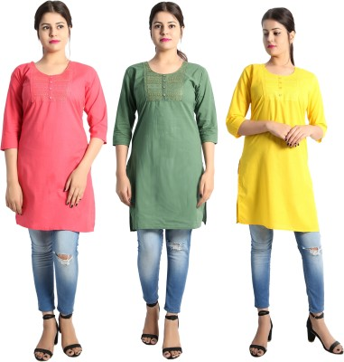 Aavri Casual Solid, Embroidered Women Kurti(Pack of 3, Multicolor)