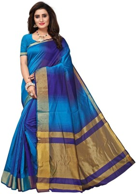 Bhuwal Fashion Striped Daily Wear Silk Cotton Blend Saree(Blue)