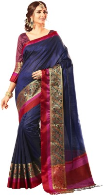 M.S.Retail Woven Kanjivaram Dupion Silk Saree(Multicolor) at flipkart