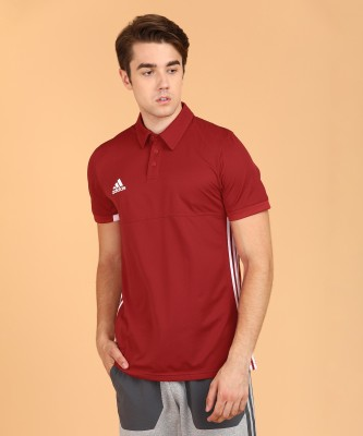 ADIDAS Striped Men Polo Neck Red, White T-Shirt