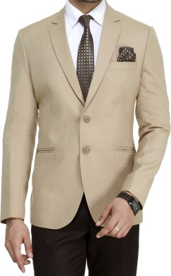 ManQ Solid Single Breasted Wedding, Formal, Party, Casual Men