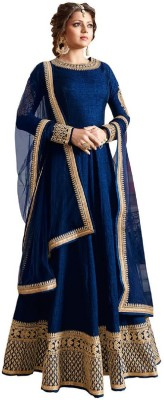 Mert India Silk Embroidered Semi-stitched Salwar Suit Dupatta Material(Semi Stitched)