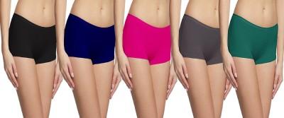 Fashion Line Women Boy Short Black, Dark Blue, Pink, Grey, Green Panty(Pack of 5)