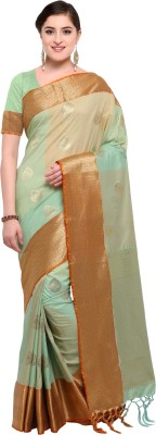 Varkala Silk Sarees Woven, Self Design Kanjivaram Silk Saree(Light Green, Cream) Flipkart