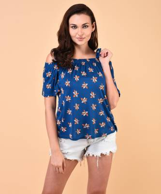 United Colors of Benetton Casual Half Sleeve Printed Women's Blue Top