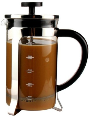InstaCuppa French Press Coffee Maker 600 ML, 4 Part Superior Filtration System, Heat Resistant Borosilicate Carafe with Measurement Markings 6 Coffee Maker(Black)