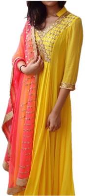 HEAVEN VILLA FASHION Georgette Embroidered Salwar Suit Dupatta Material(Un-stitched)