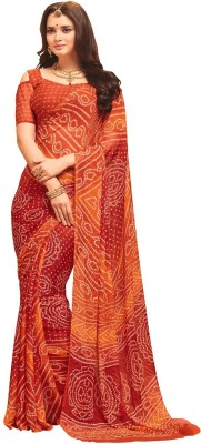 AJS Printed Bandhani Chiffon Saree(Orange, Red) Flipkart