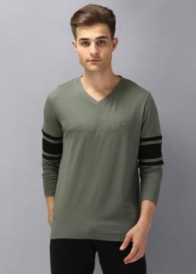 Tripr Solid Men V-neck Green T-Shirt