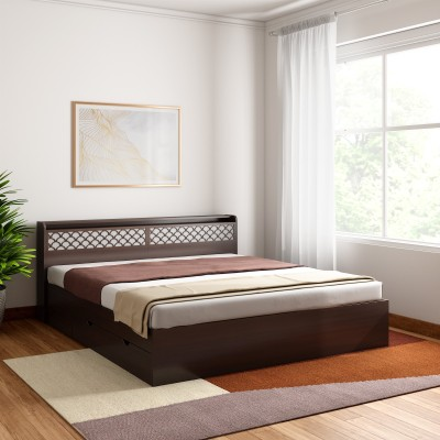 Crystal Furnitech Aspen Engineered Wood King Drawer Bed(Finish Color -  Walnut + Dream White)