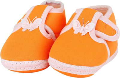 Neska Moda Buttrfly 0 To 12 Month T Booties(Toe to Heel Length - 12 cm, Orange)