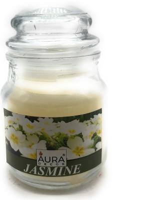 AuraDecor Highly Scented Jasmine Jar Candle(White, Pack of 1)