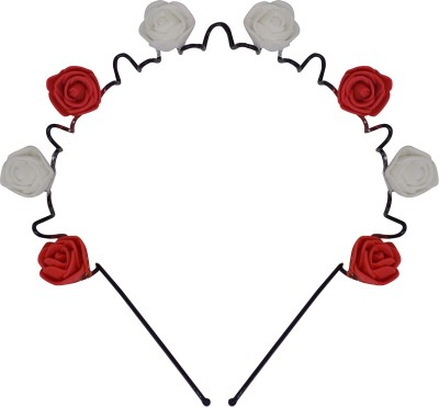 Majik Rose Flower Hair Bands Head Band, Hair Band(Red, White)