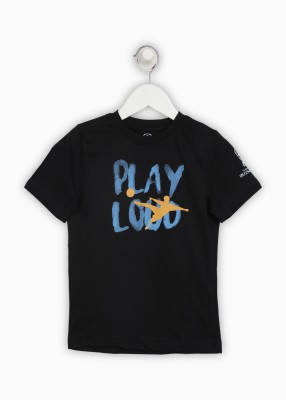 FIFA Boys Printed Cotton T Shirt(Black, Pack of 1) Flipkart
