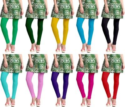 Lili Churidar  Legging(Light Green, Green, Yellow, Blue, Black, Green, Pink, Purple, Pink, Red, Solid)