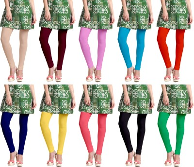 Lili Churidar  Legging(Beige, Maroon, Pink, Blue, Orange, Blue, Yellow, Pink, Black, Light Green, Solid)