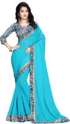 Oomph! Geometric Print Fashion Chiffon Saree(Blue) Flipkart