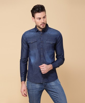 Highlander Men Dyed Casual Dark Blue Shirt