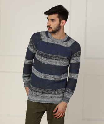 Wrangler Self Design Round Neck Casual Men Blue, Grey Sweater at flipkart