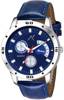 AK KING BLUE DIAL~LEATHER BELT BEST LOOK Analog Watch   For Men AK Wrist Watches