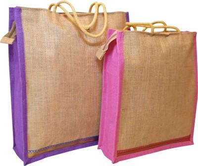 Homekitchen99 CSM Combo Of 2 Multipurpose Jute - Assorted Colors Pack of 2 Grocery Bags(Multicolor) at flipkart