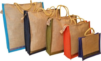 Homekitchen99 CSM Combo Of 5 Multipurpose Jute - Assorted Colors Pack of 5 Grocery Bags(Multicolor) at flipkart
