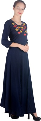 Adesa Women Embroidered, Solid Gown Kurta(Blue)