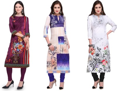 Envy9 Casual Printed Women Kurti(Pack of 3, Multicolor)