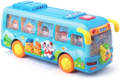 Playwell Shaking School Bus with light and music(Multicolor)
