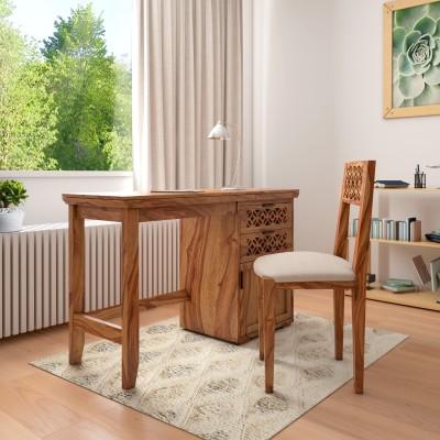 Flipkart Perfect Homes PureWood Sheesham Study Table(Free Standing, Finish Color - Honey)
