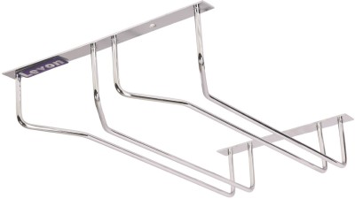 Levon Modern Double Raw Bar Red Wine Goblet Glass Hanger | Stainless Steel Holder Hanging Rack Shelf Bar Party Drink Supply - Size (355 X 245 X 65 Mm) Stainless Steel Wall Shelf(Number of Shelves - 1, Steel)