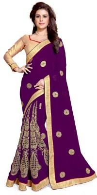 Mirchi Fashion Embroidered Fashion Faux Georgette Saree(Purple)