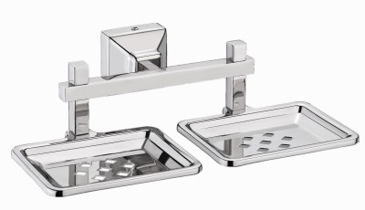 Impulse Platinum Stainless Steel 304 Grade Squaro Double Soap Dish - Soap Stand - Bathroom Soap Holder- Bathroom Accessories(Silver)