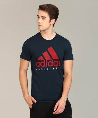 ADIDAS Printed Men Round Neck Dark Blue T-Shirt